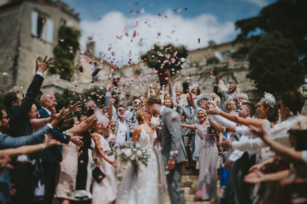 Confetti Throw Chateau Lagorce Wedding Flawless Photography