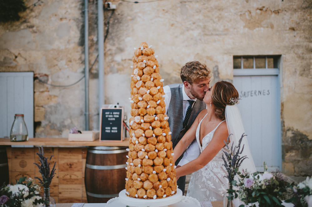 Croquembouche Profiterole Tower Cake Chateau Lagorce Wedding Flawless Photography