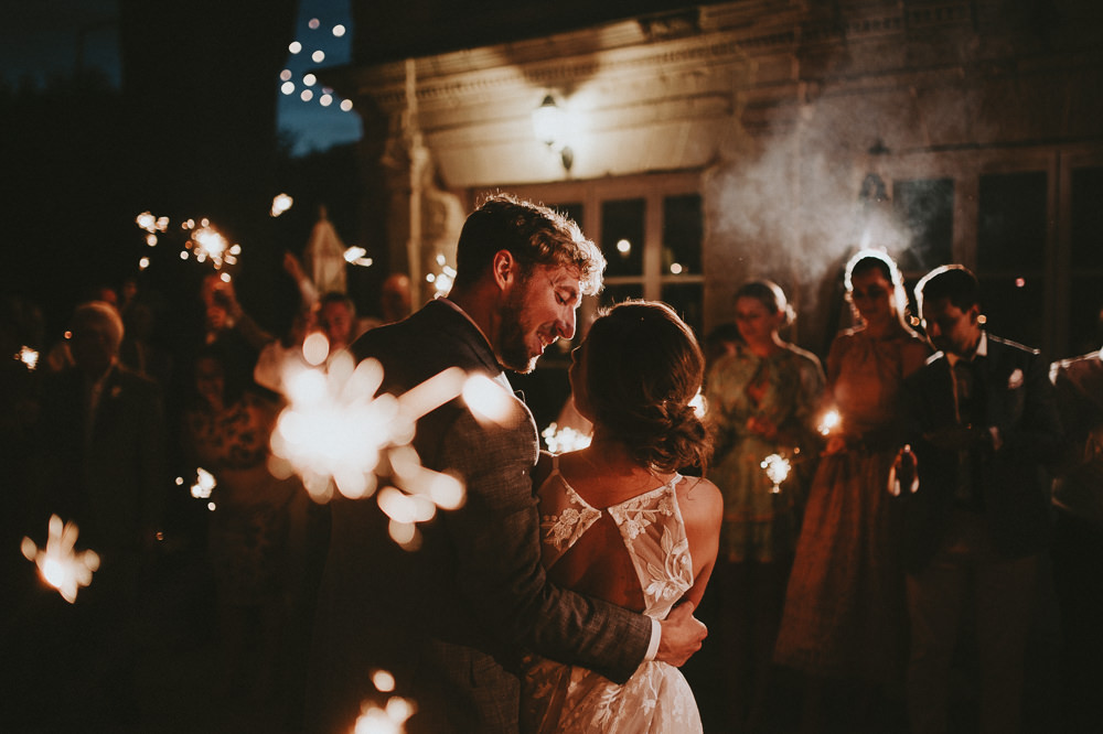 Sparklers Sparkler First Dance Chateau Lagorce Wedding Flawless Photography