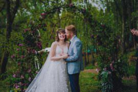 Comrie Croft Wedding John Elphinstone Stirling Outdoor Woodland Ceremony Flower Arch Moon Gate Backdrop