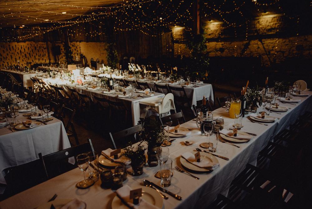 Barn Reception Long Tables Fairy Lights Decor Comrie Croft Wedding Neil Thomas Douglas