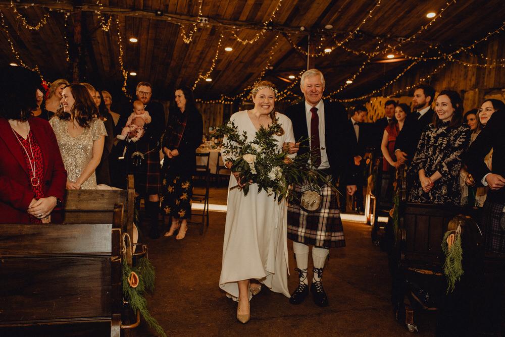 Dress Gown Bride Bridal Dip Hem Comrie Croft Wedding Neil Thomas Douglas