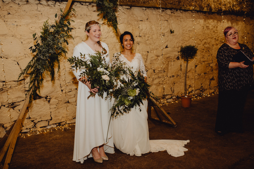 Comrie Croft Wedding Neil Thomas Douglas Triangle Backdrop Greenery Foliage Ceremony Arch Aisle