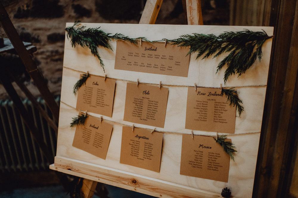 Table Plan Seating Chart Greenery Pegs Comrie Croft Wedding Neil Thomas Douglas