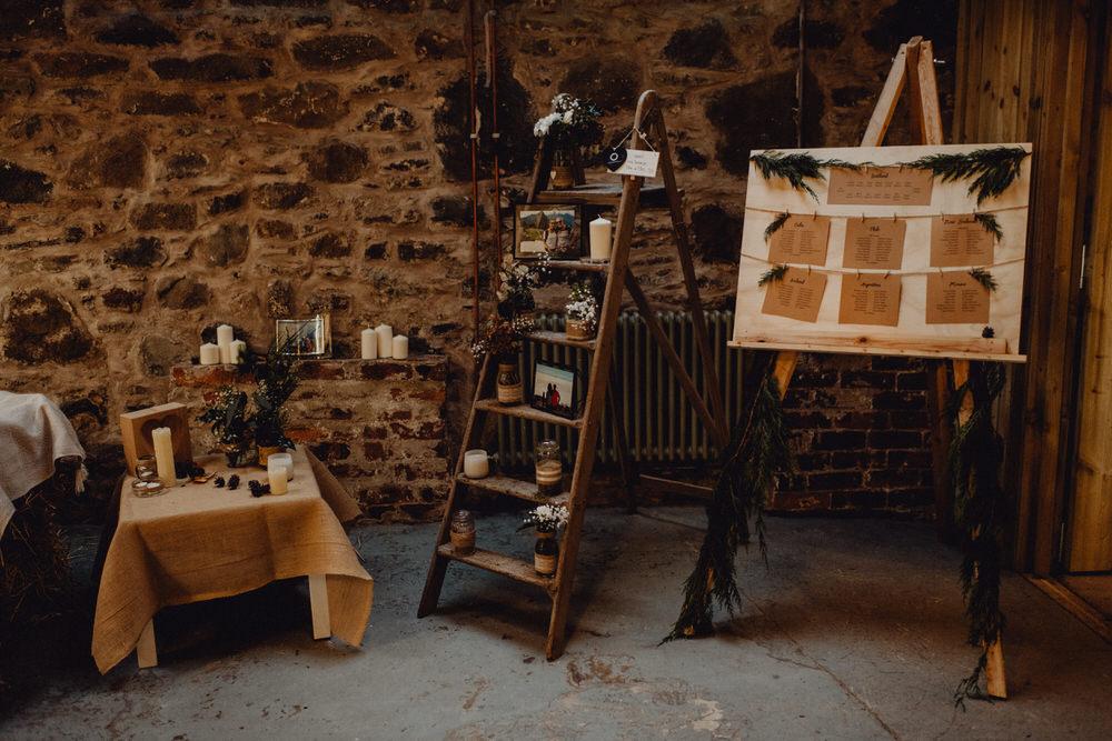 Wooden Ladder Decor Comrie Croft Wedding Neil Thomas Douglas