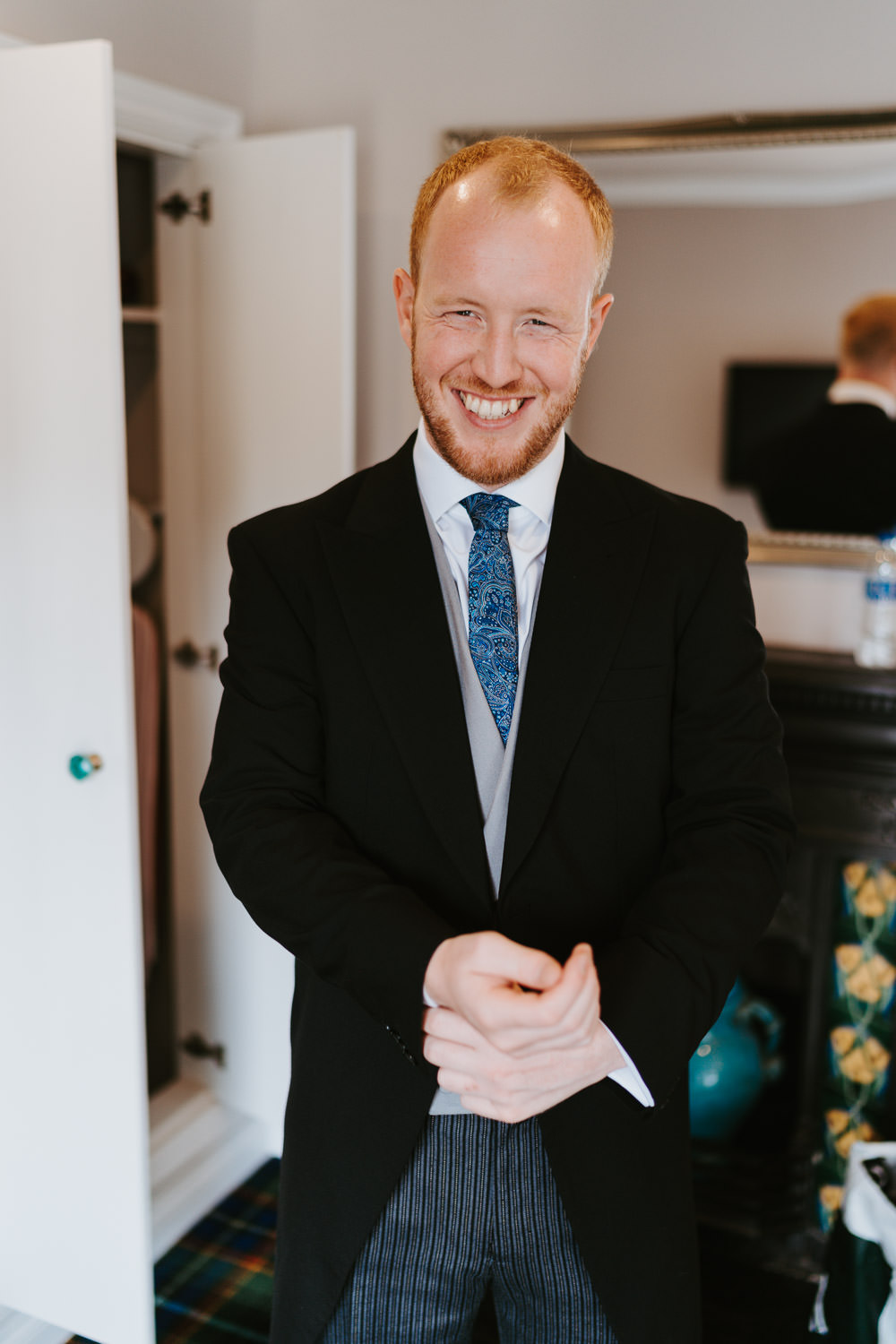 Groom Suit Tails Morning Suit Tie Waistcoat Country Festival Wedding Jonny Gouldstone Photography