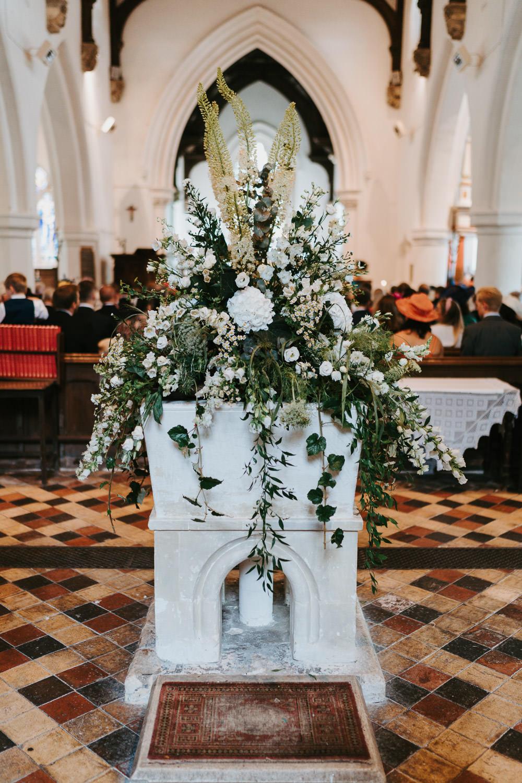 Church Flower Arrangement Country Festival Wedding Jonny Gouldstone Photography