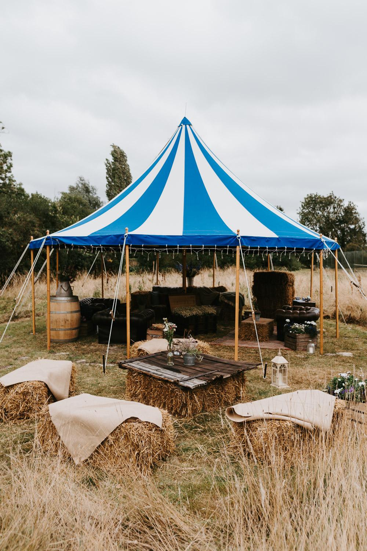 Circus Tent Hay Bales Back Garden Reception Country Festival Wedding Jonny Gouldstone Photography