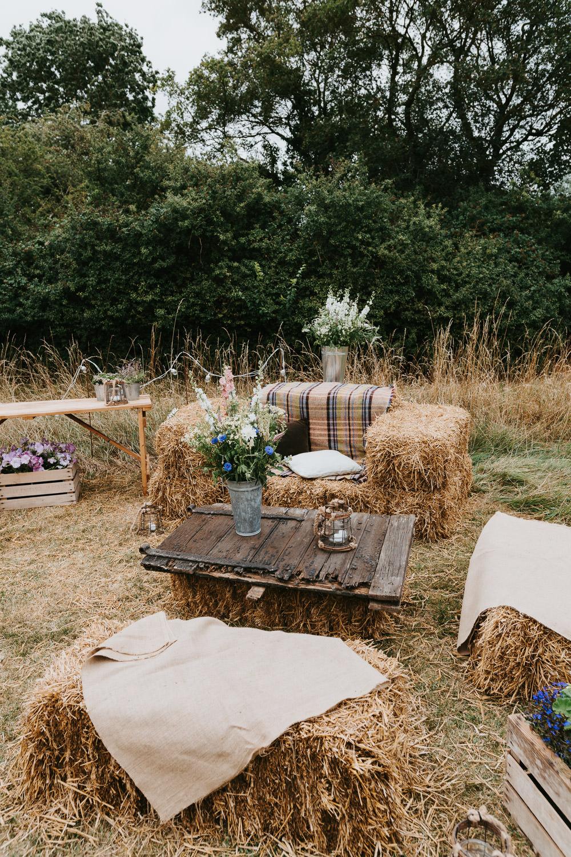 Hay Bale Seating Decor Country Festival Wedding Jonny Gouldstone Photography
