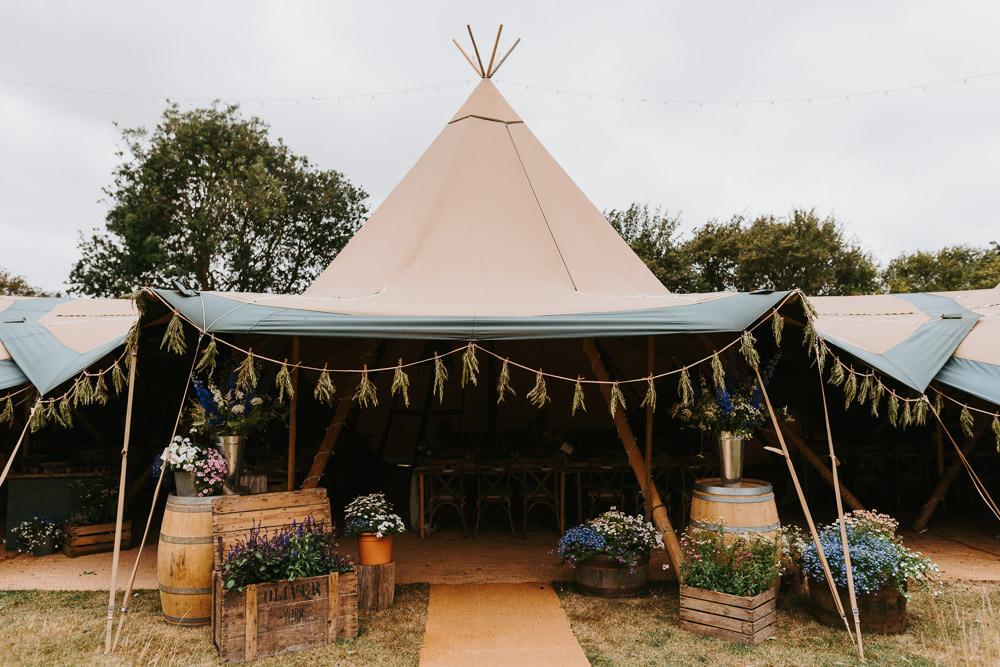 Tipi Back Garden Reception Country Festival Wedding Jonny Gouldstone Photography