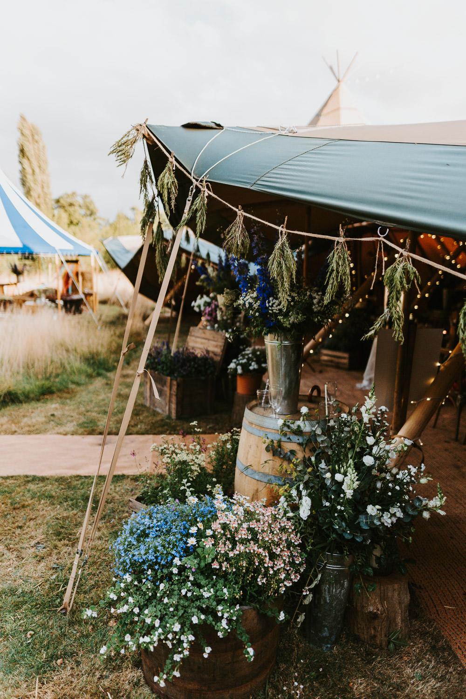 Tipi Back Garden Reception Flowers Country Festival Wedding Jonny Gouldstone Photography