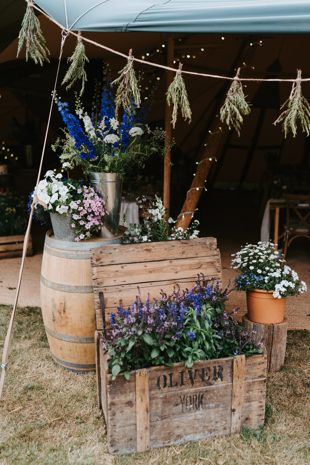 Wooden Box Crate Flowers Decor Tipi Country Festival Wedding Jonny Gouldstone Photography
