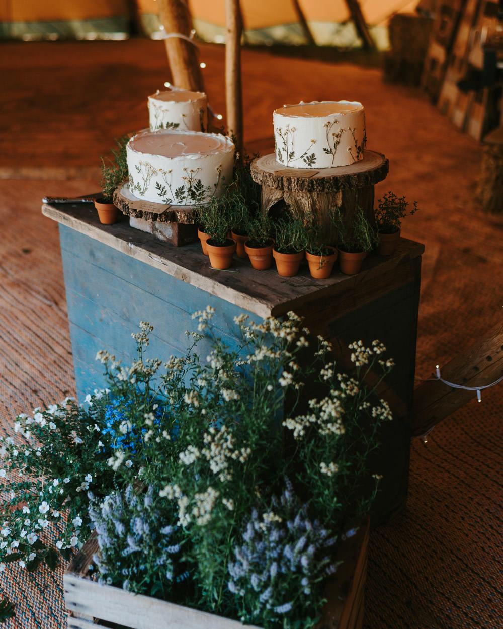 Cake Table Flowers Country Festival Wedding Jonny Gouldstone Photography