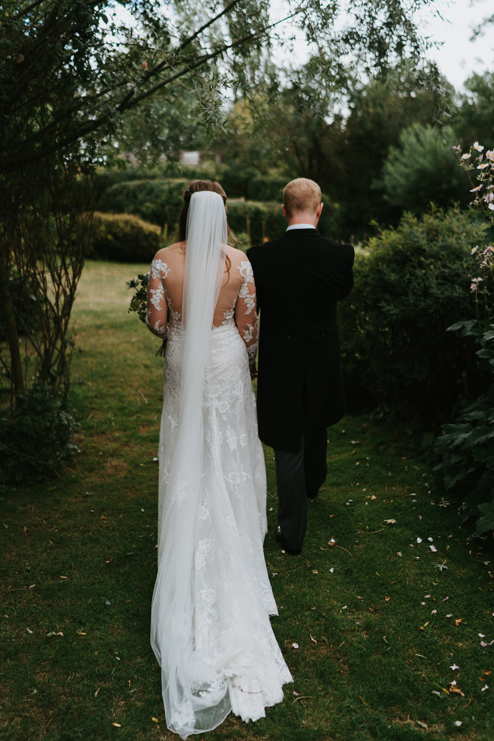 Dress Gown Bride Bridal Mori Lee Lace Sleeves Low Back Buttons Country Festival Wedding Jonny Gouldstone Photography
