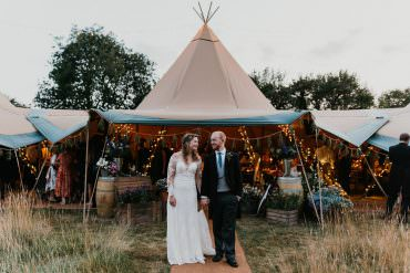 Country Festival Wedding with a Back Garden Tipi Reception