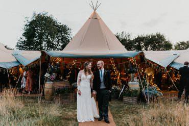 Country Festival Wedding with a Back Garden Tipi Reception