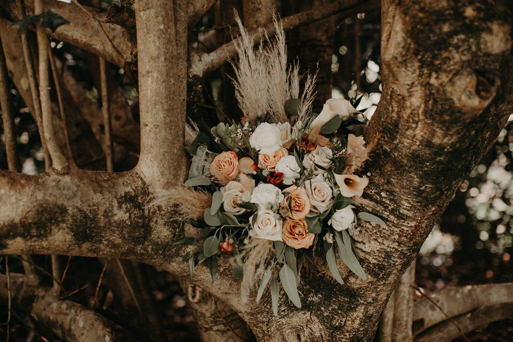Bouquet Flowers Bride Bridal Rose Orange Ivory Pampas Grass Earth Tone Wedding Aline Marin Photography