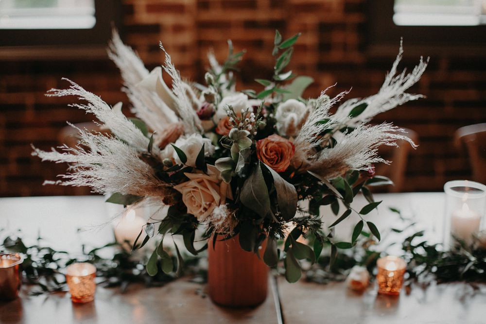 Table Centrepiece Flowers Rose Orange Ivory Pampas Grass Earth Tone Wedding Aline Marin Photography