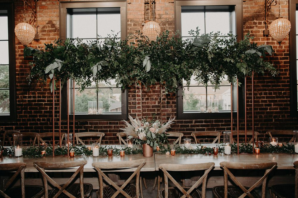 Table Tablescape Long Wooden Greenery Installation Hanging Flowers Earth Tone Wedding Aline Marin Photography