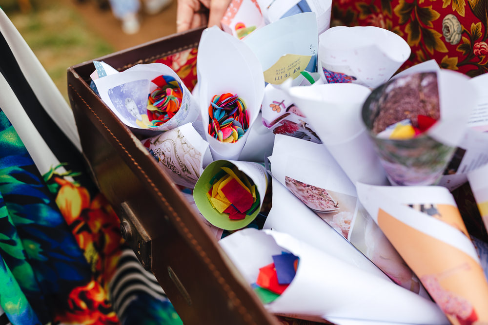 Suitcase Confetti Cones Festival Party Wedding Kirsty Mackenzie Photography