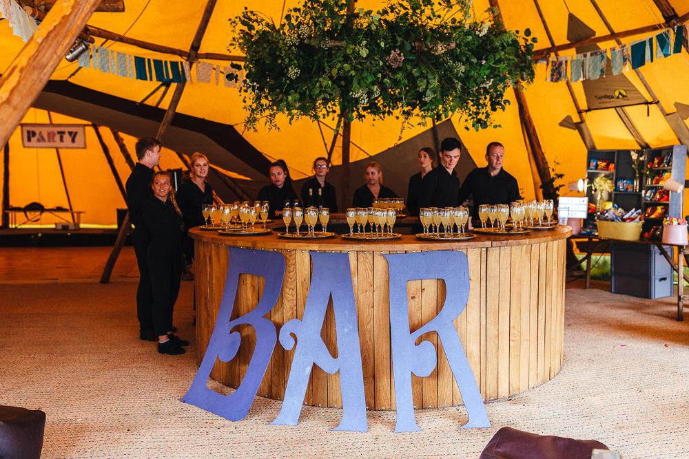 Wooden Bar Tipi Festival Party Wedding Kirsty Mackenzie Photography