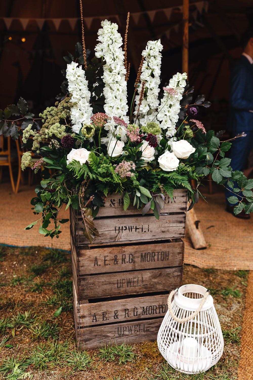 Wooden Box Flowers Flower Arrangement Festival Party Wedding Kirsty Mackenzie Photography