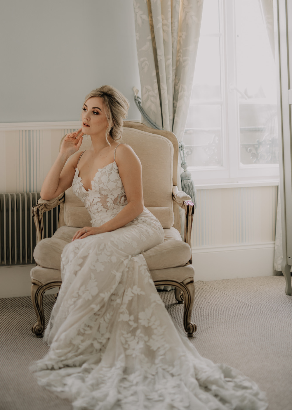 Dress Gown Bride Bridal Lace Fit Flare Train France Elopement Ideas Pierra G Photography