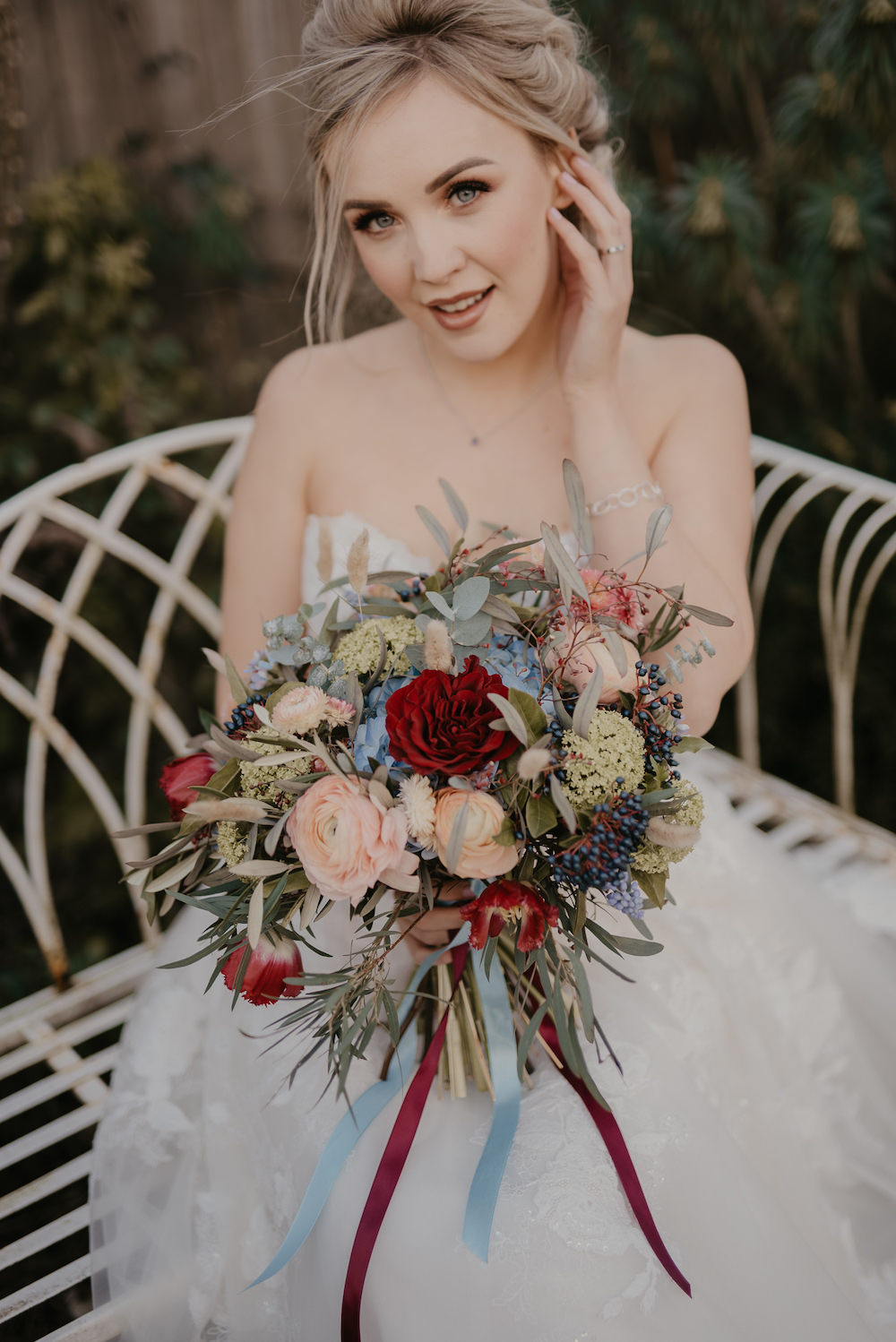 France Elopement Ideas Pierra G Photography Bouquet Flowers Bride Bridal Burgundy Blue Blush