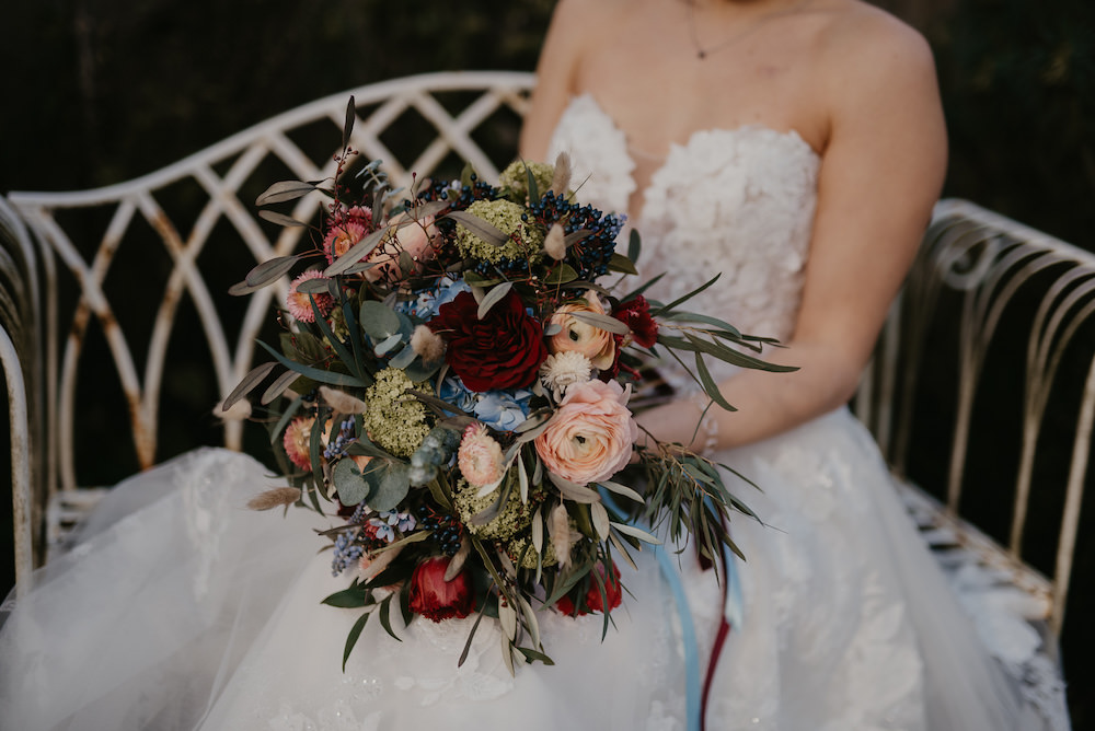 Bouquet Flowers Bride Bridal Burgundy Blue Blush France Elopement Ideas Pierra G Photography