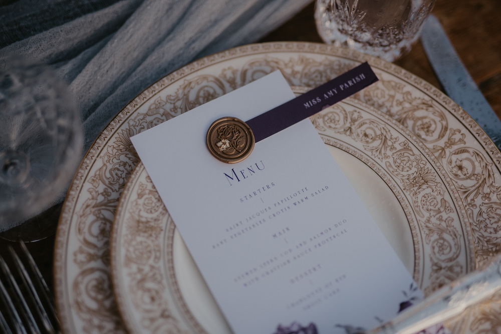 Place Setting Menu Wax Seal France Elopement Ideas Pierra G Photography