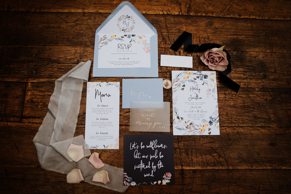 Stationery Invite Invitations Suite Flat Lay Floral Great Comp Garden Wedding Nicola Dawson Photography