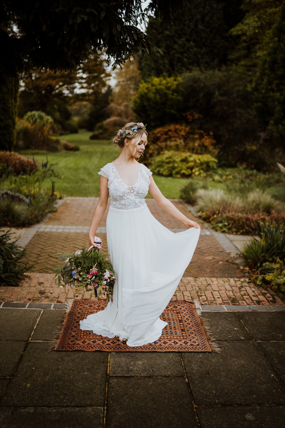 Bride Bridal Dress Gown Flutter Sleeves Lace Up Low Back Great Comp Garden Wedding Nicola Dawson Photography