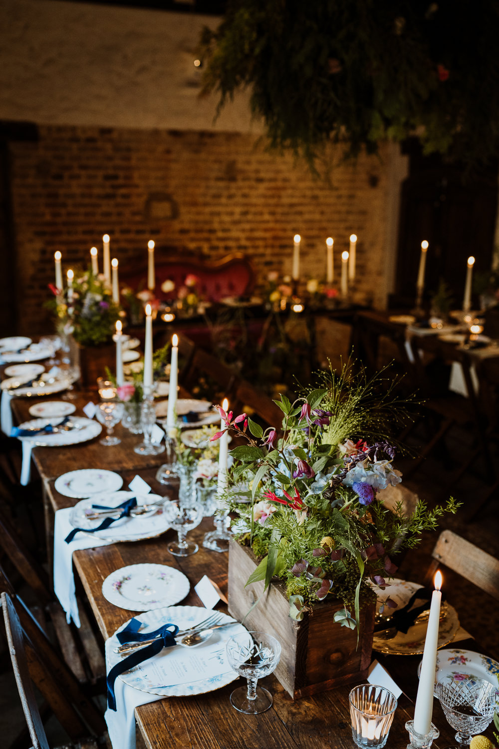 Table Flowers Centrepiece Wooden Box Crate Candles Decor Great Comp Garden Wedding Nicola Dawson Photography