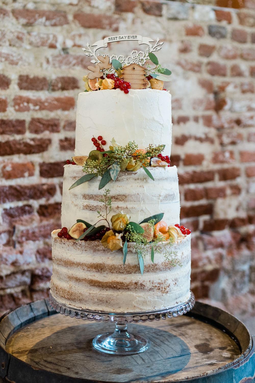 Semi Naked Cake Flowers Fruit Great Lodge Wedding Gemma Giorgio Photography