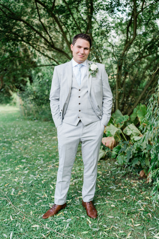 Groom Suit Pale Grey Blue Tie Great Lodge Wedding Gemma Giorgio Photography