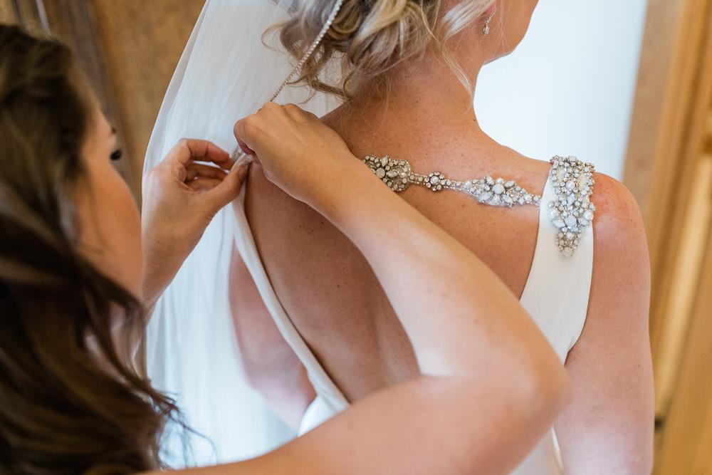 Dress Gown Bride Bridal Sleek Slinky Straps Open Back Great Lodge Wedding Gemma Giorgio Photography