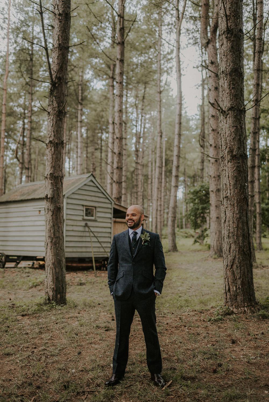 Groom Suit Navy Wool Check Tie Happy Valley Wedding Alice Cunliffe Photography
