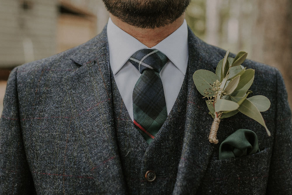 Groom Suit Navy Wool Check Tie Buttonhole Happy Valley Wedding Alice Cunliffe Photography