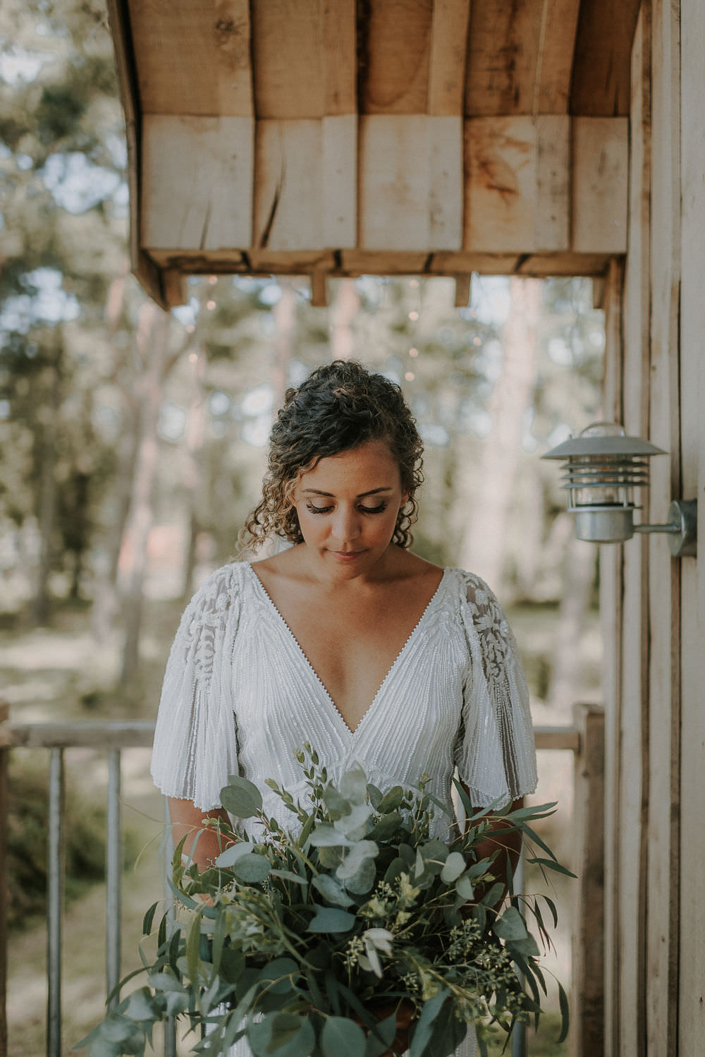 Bride Bridal Dress Gown Rosa Clara Beaded Sleeves Greenery Foliage Bouquet Flowers Happy Valley Wedding Alice Cunliffe Photography