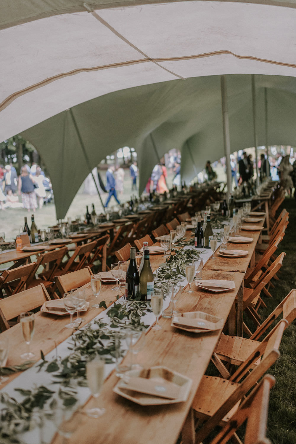 Stretch Tent Long Tables Greenery Foliage Happy Valley Wedding Alice Cunliffe Photography