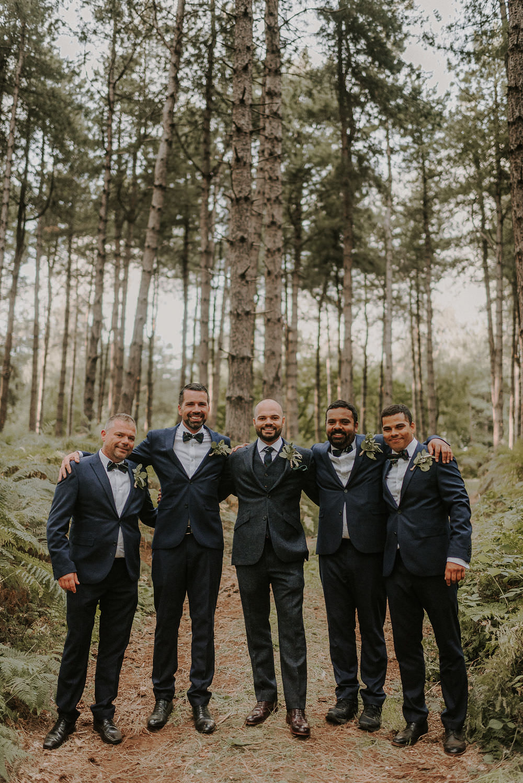 Groom Suit Navy Wool Check Tie Groomsmen Happy Valley Wedding Alice Cunliffe Photography