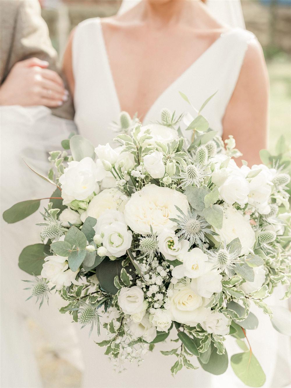 Bouquet Flowers Bride Bridal Thistle Rose Eucalyptus Lockdown Wedding Carn Patrick Photography