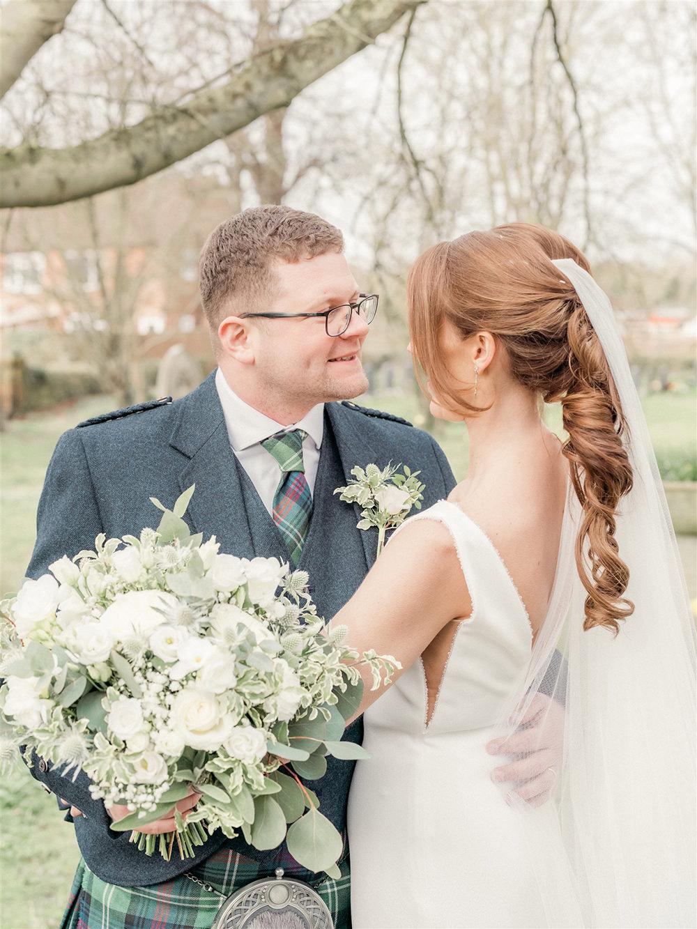 Bride Bridal Hair Style Up Do Pony Tail Veil Lockdown Wedding Carn Patrick Photography