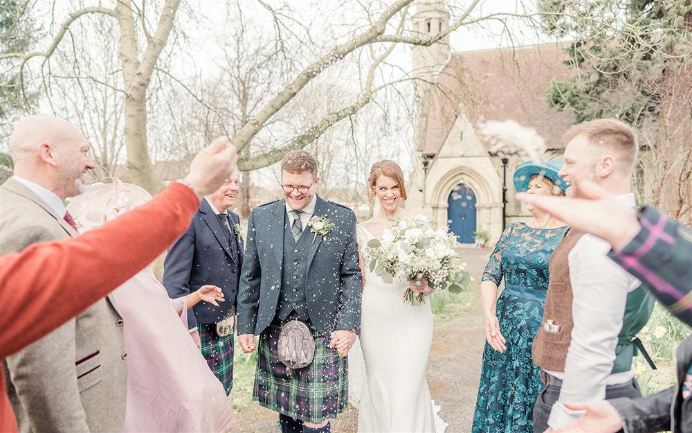 Confetti Throw Lockdown Wedding Carn Patrick Photography