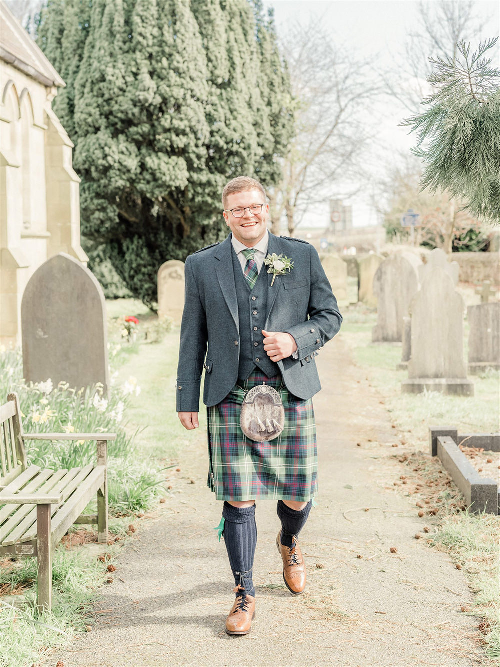 Groom Kilt Suit Tartan Tie Buttonhole Flowers Lockdown Wedding Carn Patrick Photography