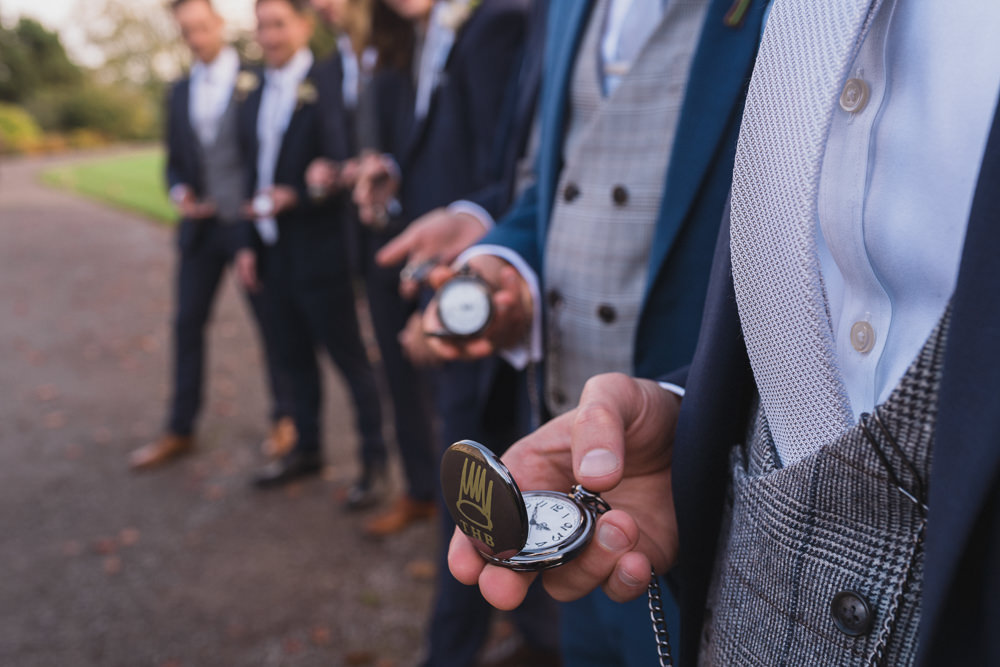 Groom Suit Blue Suit Waistcoat Tie Groomsmen Pocket Watch Modern Romantic Wedding Red Maple Photography