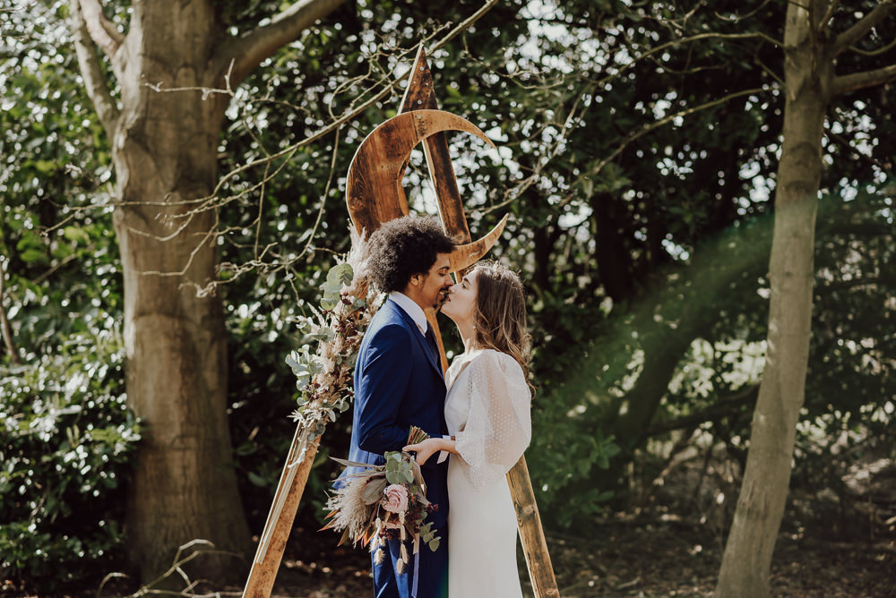 Crescent Moon Celestial Backdrop Triangle Wooden Arch Ceremony Aisle Navy Gold Wedding Ideas Gina Fernandes Photography