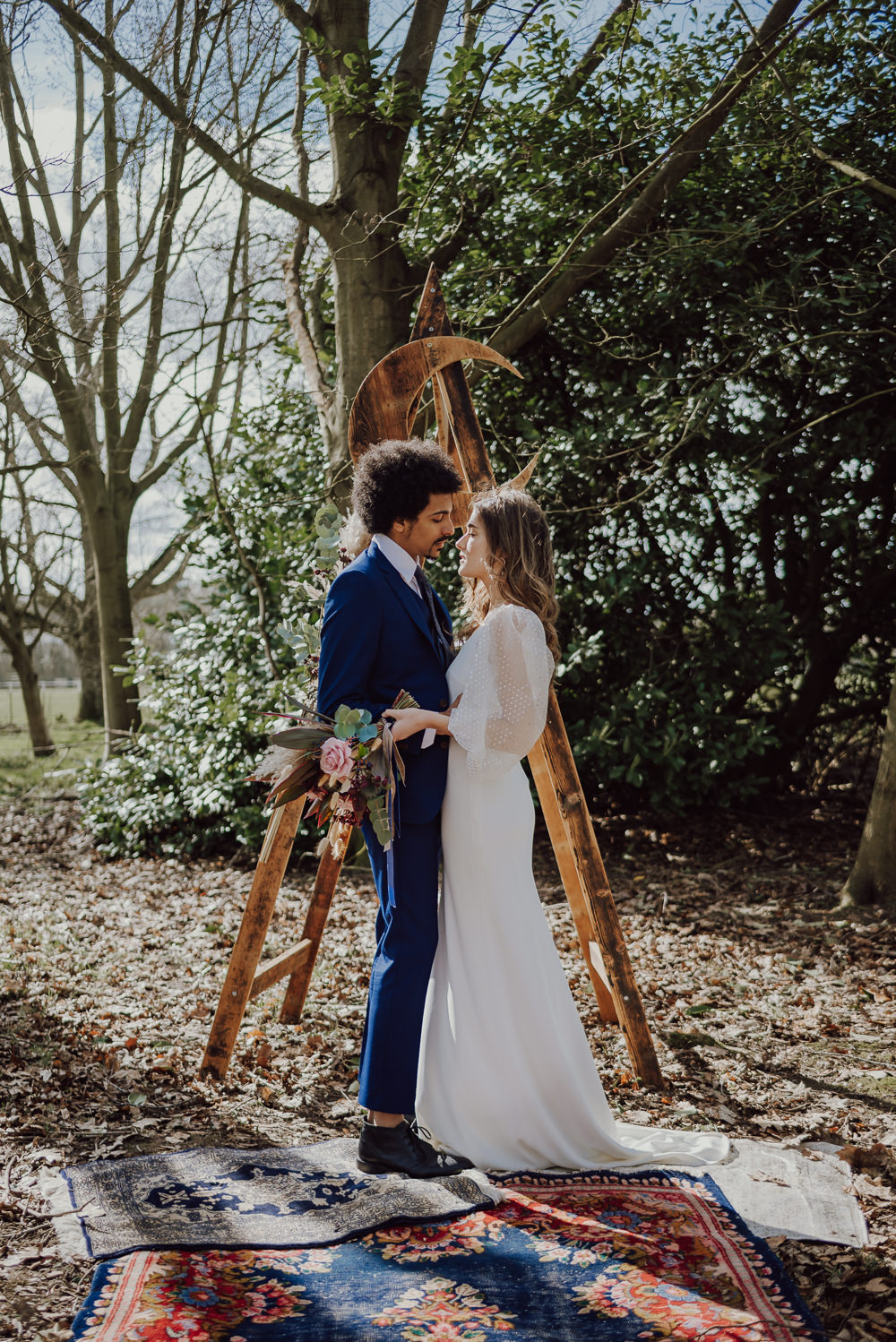Navy Gold Wedding Ideas Gina Fernandes Photography Crescent Moon Celestial Backdrop Triangle Wooden Arch Ceremony Aisle
