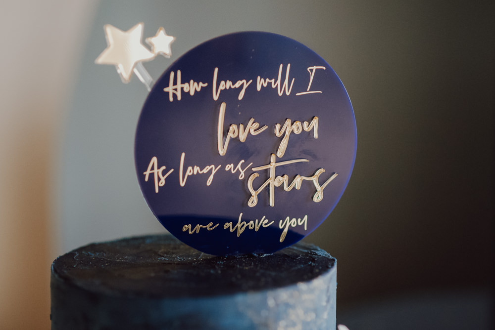 Celestial Cake Moon Stars Crescent Topper Navy Gold Wedding Ideas Gina Fernandes Photography