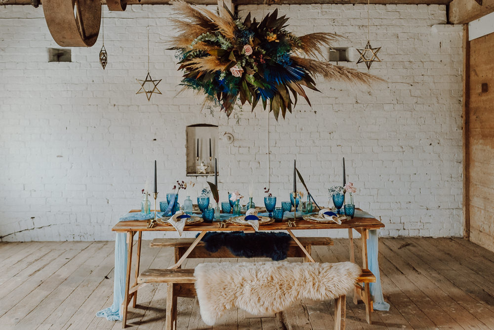 Table Tablescape Decor Runner Candles Flowers Cloud Hanging Flower Installation Navy Gold Wedding Ideas Gina Fernandes Photography